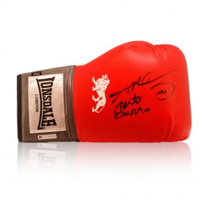 Sugar Ray Leonard And Roberto Duran Signed Lonsdale Boxing Glove. In Gift Box