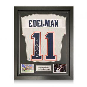Julian Edelman Signed American Football Jersey. Standard Frame