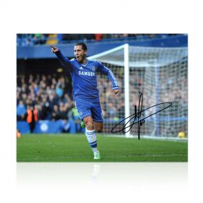 Eden Hazard Signed Chelsea Football Photo. In Gift Box