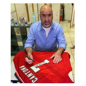Eric Cantona Signed 1996 Manchester United Shirt. Damaged A