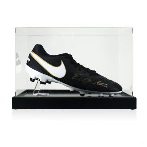 Eric Cantona Signed Nike Tiempo Football Boot In Display Case