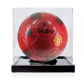 Eric Cantona Signed Football In Display Case