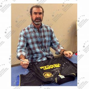 Eric Cantona Signed Manchester United 1994 Black Away Shirt In Deluxe Black Frame With Gold Inlay
