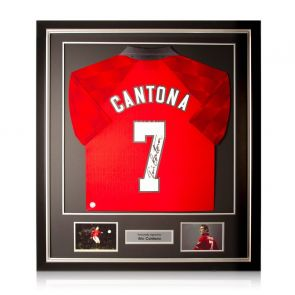 Eric Cantona Signed Manchester United 1998 Home Shirt Deluxe Frame