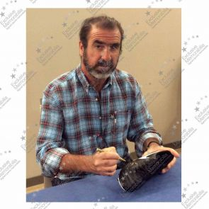 Eric Cantona Signed Football Boot. In Deluxe Black Frame With Gold Inlay