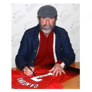 Eric Cantona Signed Manchester United Shirt. Damaged B