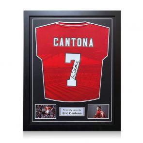 Eric Cantona Signed 1996 Manchester United Shirt. Framed