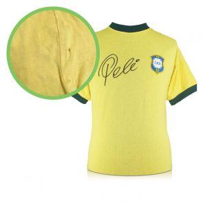Pele Signed Brazil 1970 Football Shirt. Damaged Stock A