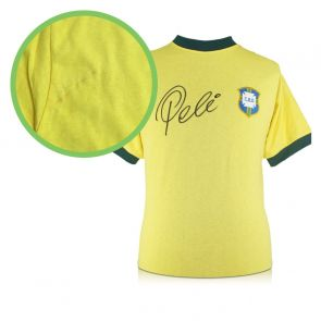 Pele Signed Brazil 1970 Football Shirt. Damaged Stock B