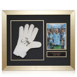 Joe Hart Goalkeeping glove, signed and framed