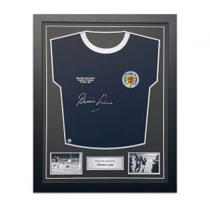 Denis Law Signed Scotland Football Shirt 1967. Standard Frame