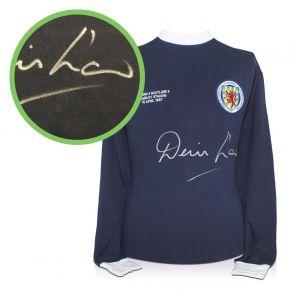 Denis Law Signed Scotland Football 1967 Shirt. Damaged A