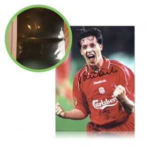 Robbie Fowler Signed Liverpool UEFA Cup Celebration Photo. Damaged A