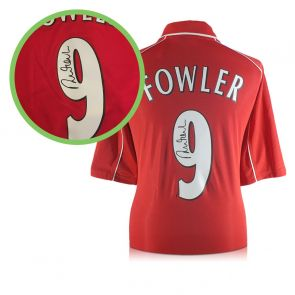 Robbie Fowler Signed Liverpool Number 9 Shirt 2001. Damaged A
