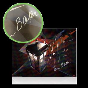 Tom Baker Signed Dr Who Tardis Poster - Damaged Stock D