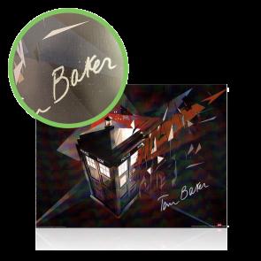 Tom Baker Signed Dr Who Tardis Poster - Damaged Stock E