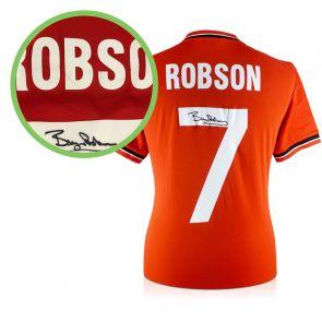 Bryan Robson Signed Manchester United Football Shirt 1984 - Damaged Stock B