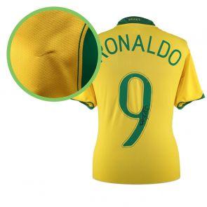 Ronaldo de Lima Signed 2006-08 Brazil Home Shirt - Damaged Stock