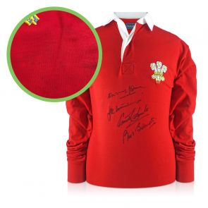 Wales Rugby Shirt Signed By Edwards, Williams, Bennett & John. Damaged Stock B