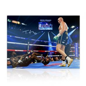 Tyson Fury Signed Boxing Photo: Deontay Wilder Knockdown