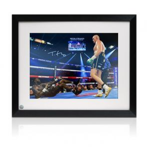Tyson Fury Signed Boxing Photo: Deontay Wilder Knockdown. Framed