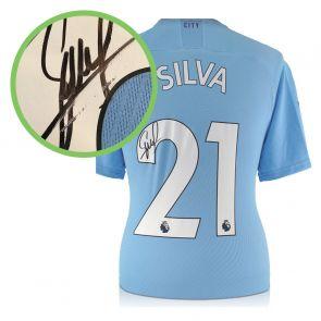 David Silva Signed Man City 2019-20 Home Shirt. Damaged Stock C