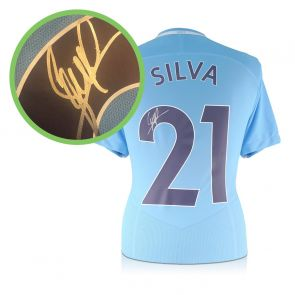 David Silva Signed Limited Edition Man City 2017-18 Shirt. Damaged Stock