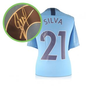 David Silva Signed Manchester City Shirt 2018-19. Damaged