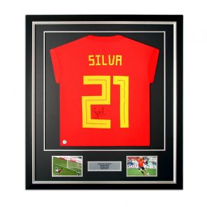 David Silva Signed Spain 2018-19 Football Shirt. Deluxe Frame