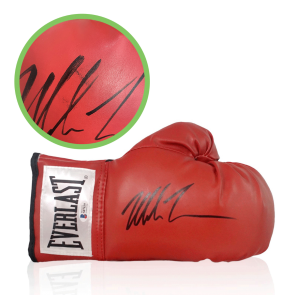 Mike Tyson Signed Red Boxing Glove. Damaged Stock