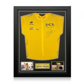 Bradley Wiggins Signed Tour De France 2012 Yellow Jersey. Framed