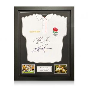 Jonny Wilkinson And Martin Johnson Signed England Rugby Shirt. Standard Frame
