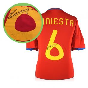 Andres Iniesta Signed 2009-10 Spain Home Shirt. Damaged A