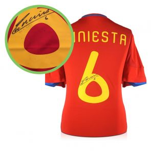 Andres Iniesta Signed 2009-10 Spain Home Shirt. Damaged B