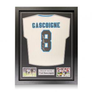 Paul Gascoigne Signed England Euro 1996 Shirt. Standard Frame