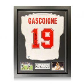 Paul Gascoigne Signed England 1990 Shirt. Standard Frame