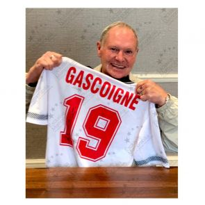 Paul Gascoigne Signed 1990 England Shirt. In Gift Box