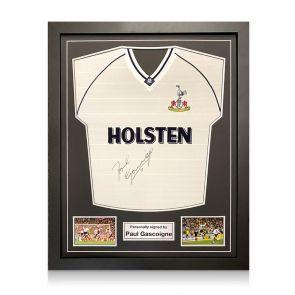Paul Gascoigne Signed Spurs 91 FA Cup Semi Final Shirt. Standard Frame