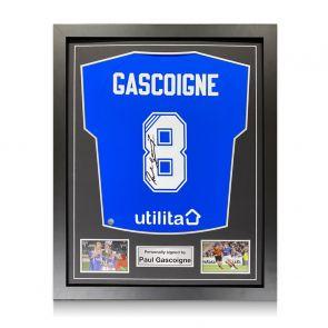 Paul Gascoigne Signed Rangers Shirt. Standard Frame
