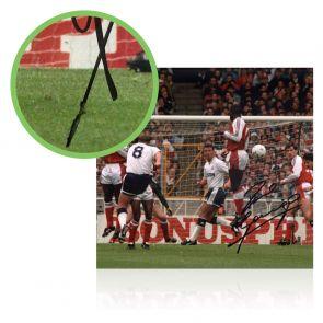Paul Gascoigne Signed Photo: Arsenal Free-Kick. Damaged