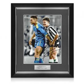 Paul Gascoigne Signed Photo: With Vinnie Jones. Deluxe Frame