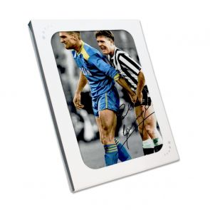 Paul Gascoigne Signed Photo: With Vinnie Jones. In Gift Box