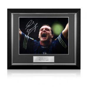 Paul Gascoigne Signed Rangers Photo. Deluxe Frame