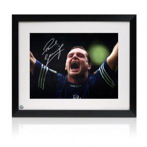 Paul Gascoigne Signed Rangers Photo. Framed