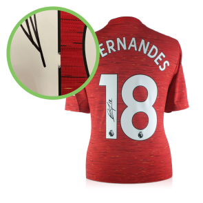 Bruno Fernandes Signed Manchester United Shirt. Damaged Stock C