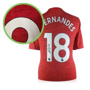 Bruno Fernandes Signed Manchester United Shirt. Damaged F
