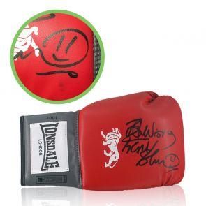 Frank Bruno Signed Red Boxing Glove. Damaged A