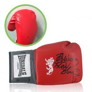 Frank Bruno Signed Red Boxing Glove. Damaged C