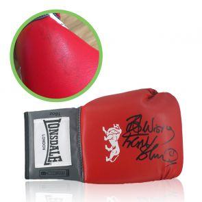 Frank Bruno Signed Red Boxing Glove. Damaged Stock J