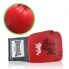 Frank Bruno Signed Red Boxing Glove. Damaged Stock K